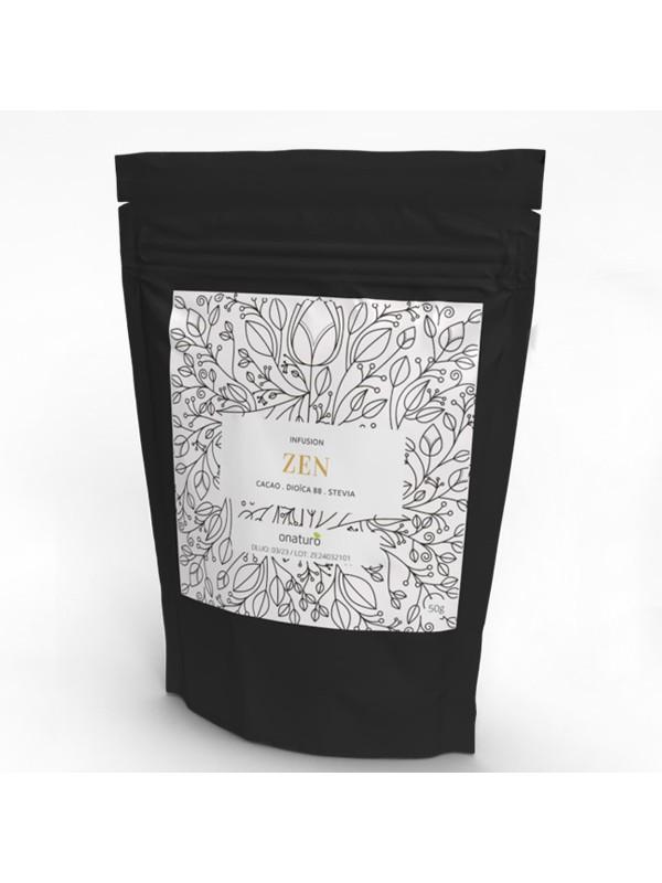Infusion de Cacao : Zen 50g en sachet recharge Composition : Cacao, Dioïca 88 (CBD), Stévia en feuilles.