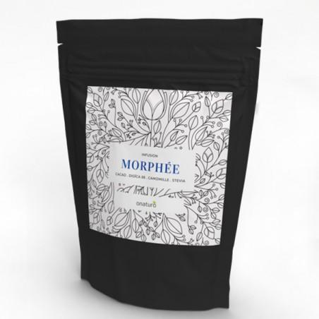 Infusion de Cacao : Morphée 50g en sachet recharge. Composition : Cacao, Dioïca 88 (CBD), Camomille, Stévia en feuilles.