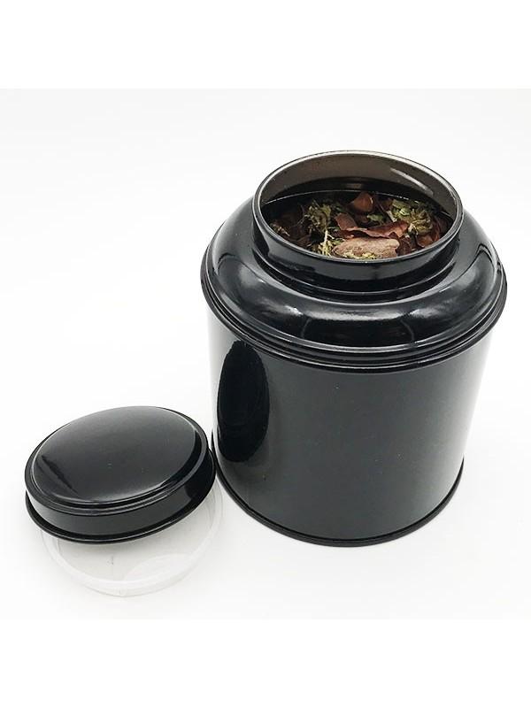 boite métal ouverte noir infusion de cacao et cbd 50g