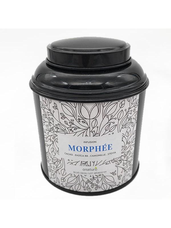boite métal ouverte noir infusion morphee de cacao et cbd 50g