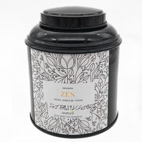 boite métal ouverte noir infusion zen de cacao et cbd 50g