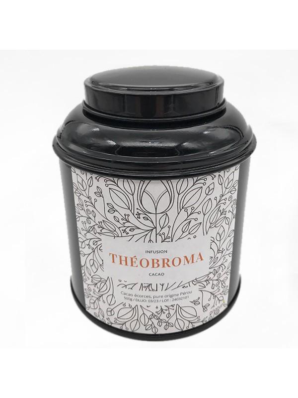 boite métal ouverte noir infusion theobroma de cacao et cbd 50g
