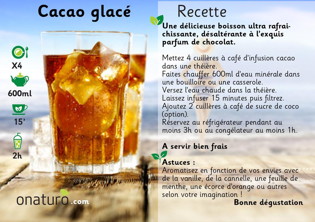 recette de l'infusion de cacao glacée